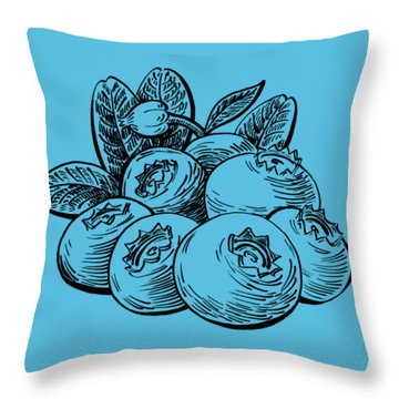 Blueberries Group Throw Pillow