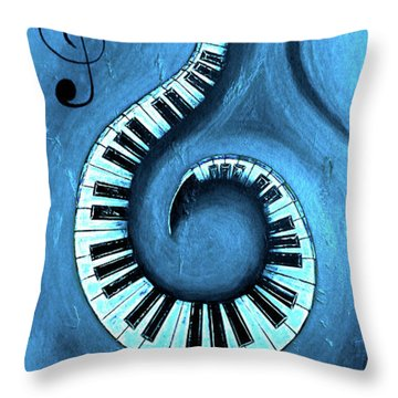 Blue 1 - Swirling Piano Keys - Music In Motion  Throw Pillow