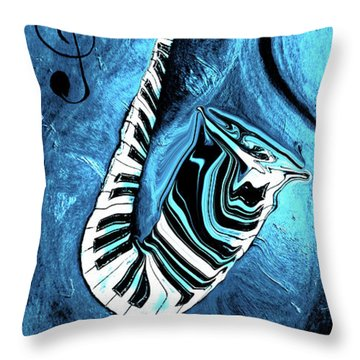 Piano Keys In A Saxophone Blue 2 - Music In Motion Throw Pillow