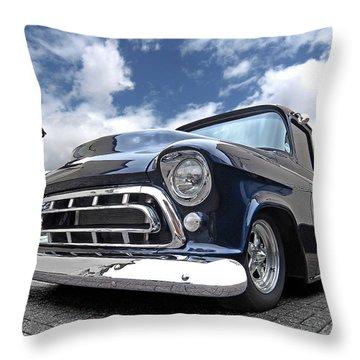 Blue 57 Stepside Chevy Throw Pillow