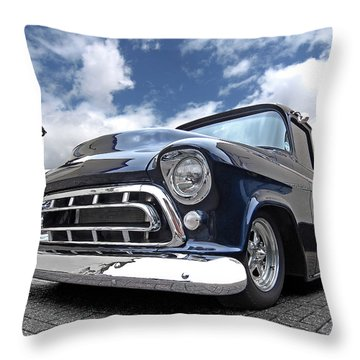 Blue 57 Stepside Chevy Throw Pillow