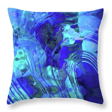 Blue Abstract Art - Reflections - Sharon Cummings Throw Pillow by Sharon Cummings