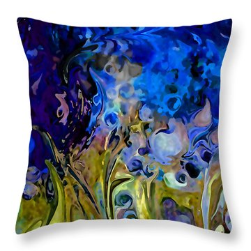 Blue Abstract Blue Symphony In Color By Sherri Nicholas Of Palm Springs Throw Pillow