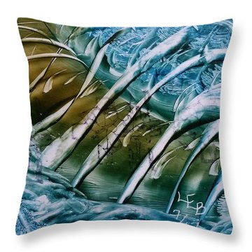 Blue Abstract Dark Ribbon Centre Throw Pillow