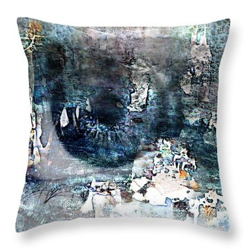Blue Abstract Eye Throw Pillow