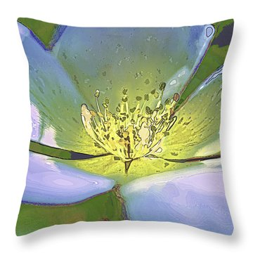 Throw Pillow featuring the photograph Blue Abstract Flower by Paula Porterfield-Izzo
