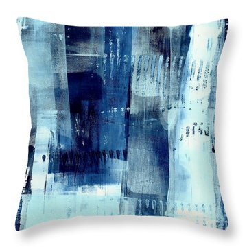 Blue Abstract I Throw Pillow by Lisa Noneman