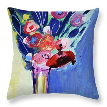 Blue Abstract Still Life With Red Flowers Throw Pillow