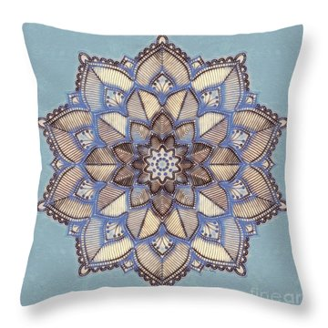 Blue And White Mandala Throw Pillow