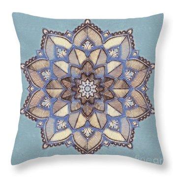 Blue And White Mandala Throw Pillow