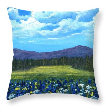 Throw Pillow featuring the painting Blue Afternoon by Anastasiya Malakhova