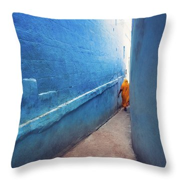 Blue Alleyway Throw Pillow