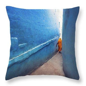 Blue Alleyway Throw Pillow by Marji Lang