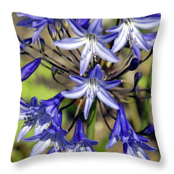 Blue Allium Throw Pillow