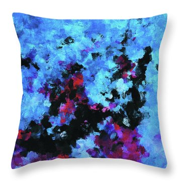 Throw Pillow featuring the painting Blue And Black Abstract Wall Art by Ayse Deniz