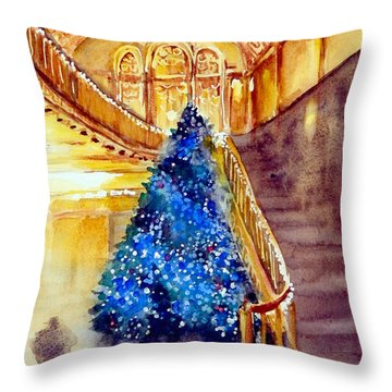 Blue And Gold 2 - Michigan Theater In Ann Arbor Throw Pillow by Yoshiko Mishina