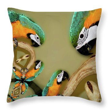 Blue And Gold Macaw Parrot Abstract Throw Pillow