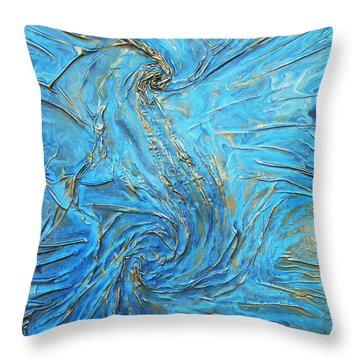 blue and gold S Throw Pillow by Angela Stout