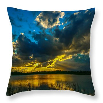 Blue And Gold Sunset With Rays Throw Pillow
