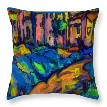 Southwest Blue And Gold In Fauve Throw Pillow