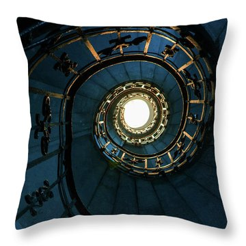Throw Pillow featuring the photograph Blue And Golden Spiral Staircase by Jaroslaw Blaminsky