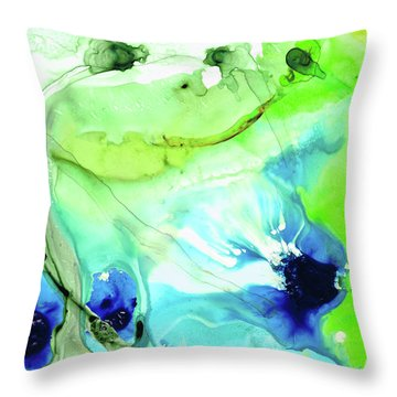 Throw Pillow featuring the painting Blue And Green Abstract - Land And Sea - Sharon Cummings by Sharon Cummings