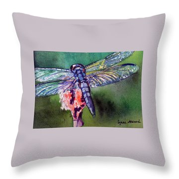 Blue And Green Dragonfly Throw Pillow