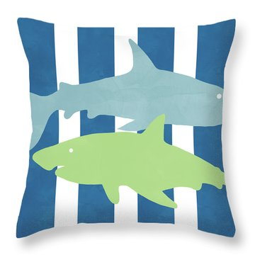 Blue And Green Sharks- Art By Linda Woods Throw Pillow