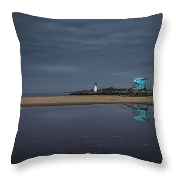 Throw Pillow featuring the photograph Blue And Grey by Lora Lee Chapman