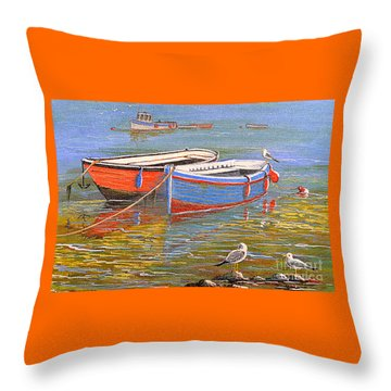 Blue And Orange Throw Pillow by Bill Holkham