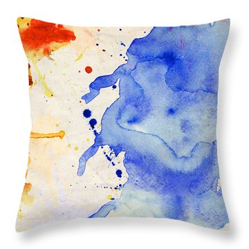 Blue And Orange Color Splash Throw Pillow