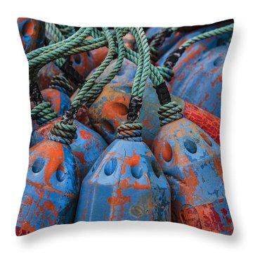 Blue And Orange Fishing Buoys Throw Pillow