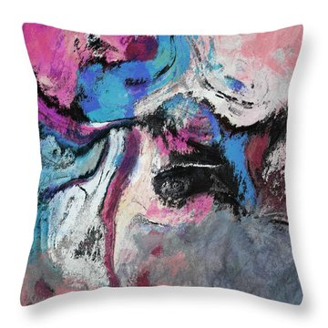 Throw Pillow featuring the painting Blue And Pink Abstract Painting by Ayse Deniz