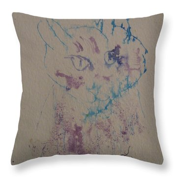 Throw Pillow featuring the drawing Blue And Purple Cat by AJ Brown