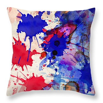 Blue And Red Color Splash Throw Pillow