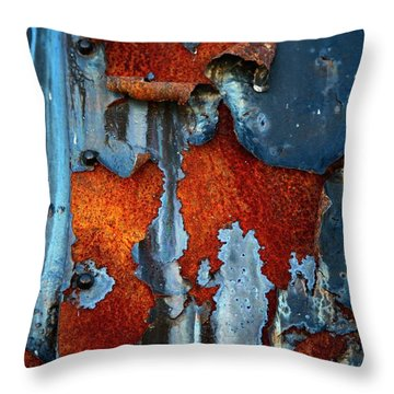 Throw Pillow featuring the photograph Blue And Rust by Karol Livote