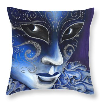 Blue And Sliver Carnival Flair  Throw Pillow by Patty Vicknair