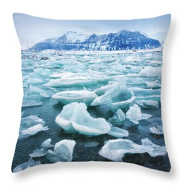 Throw Pillow featuring the photograph Blue And Turquoise Ice Jokulsarlon Glacier Lagoon Iceland by Matthias Hauser