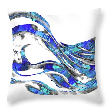 Blue And White Abstract Art - Wave 3 - Sharon Cummings Throw Pillow