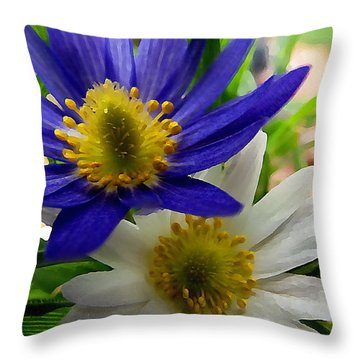 Blue And White Anemones Throw Pillow