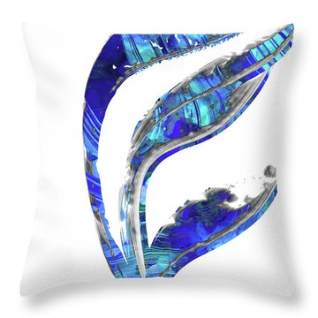 Blue And White Art - Flowing 1 - Sharon Cummings Throw Pillow