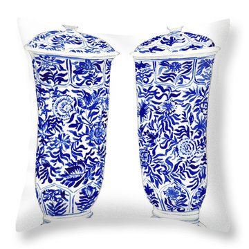 Blue And White Chinoiserie Vases Throw Pillow