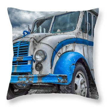 Blue And White Divco Throw Pillow