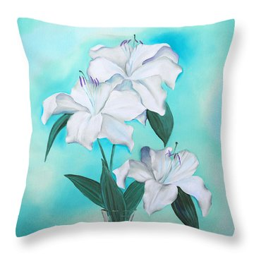 Throw Pillow featuring the mixed media Blue And White by Elizabeth Lock