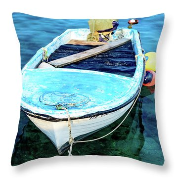 Blue And White Fishing Boat On The Adriatic - Rovinj, Croatia Throw Pillow