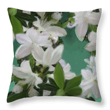 Blue And White Flower Art 2 Throw Pillow