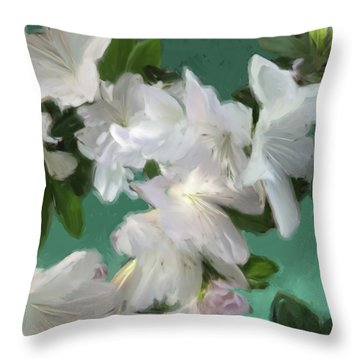 Blue And White Flower Art 3 Throw Pillow
