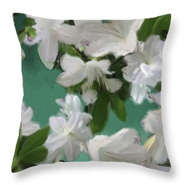 Blue And White Flower Art  Throw Pillow