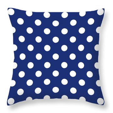 Throw Pillow featuring the mixed media Blue And White Polka Dots- Art By Linda Woods by Linda Woods
