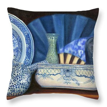 Blue And White Porcelain Ware Throw Pillow